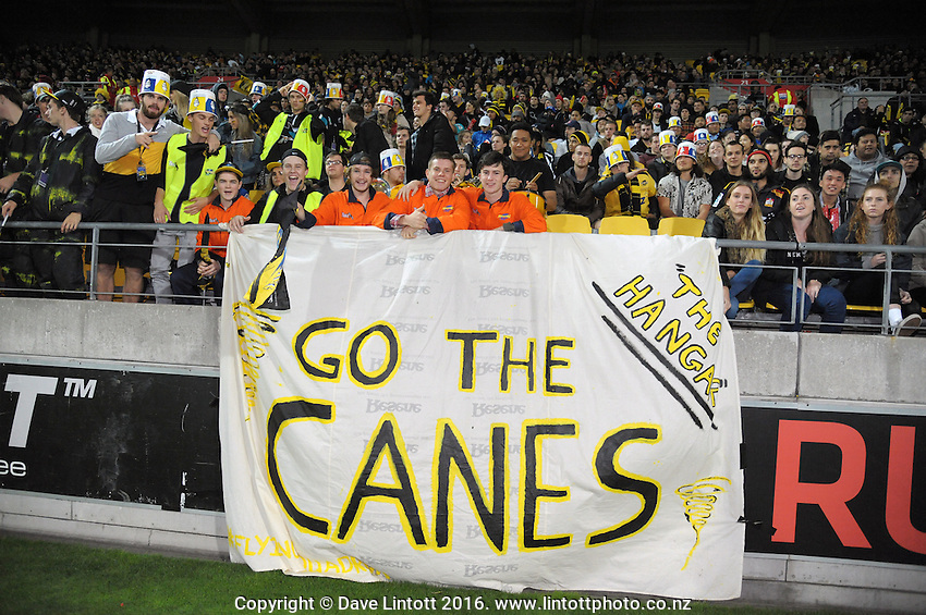 Fans in The Hangar during the Super Rugby match between the Hurricanes and Chiefs at Westpac Stadium, Wellington, New Zealand on Saturday, 23 April 2016. Photo: Dave Lintott / lintottphoto.co.nz