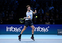 Jack Sock in action against Roger Federer<br /> <br /> Photographer Rob Newell/CameraSport<br /> <br /> International Tennis - Barclays ATP World Tour Finals - O2 Arena - London - Day 1 - Sunday 12th November 2017<br /> <br /> World Copyright &copy; 2017 CameraSport. All rights reserved. 43 Linden Ave. Countesthorpe. Leicester. England. LE8 5PG - Tel: +44 (0) 116 277 4147 - admin@camerasport.com - www.camerasport.com