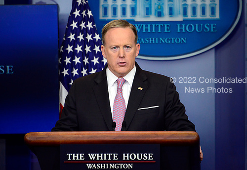 White House Press Secretary Sean Spicer conducts his Daily Briefing in the Brady Press Briefing Room of the White House in Washington, DC on Thursday, April 13, 2017.<br /> Credit: Ron Sachs / CNP