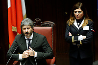 Roberto Fico, President of the Lower Chamber<br /> Rome February 13th 2019. Lower Chamber. Ministers of Internal Affairs, of Labour and of Health at the Question Time at the Chamber of Deputies.<br /> Foto Samantha Zucchi Insidefoto