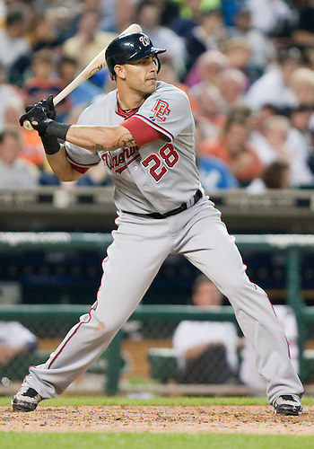 June 15, 2010: Washington Nationals first baseman Mike Morse (#28) at bat in game action between the Washington Nationals and the Detroit Tigers at Comerica Park in Detroit, Michigan.  The Tigers defeated the Nationals 7-4..