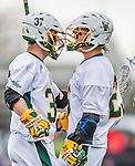 18 April 2015:  University of Vermont Catamount Midfielder John Everett (left) a Redshirt Sophomore from Virginia Beach, VA, celebrates a goal with teammates during play against the University of Hartford Hawks at Virtue Field in Burlington, Vermont. The Cats defeated the Hawks 14-11 in the final home game of the 2015 season. Mandatory Credit: Ed Wolfstein Photo *** RAW (NEF) Image File Available ***