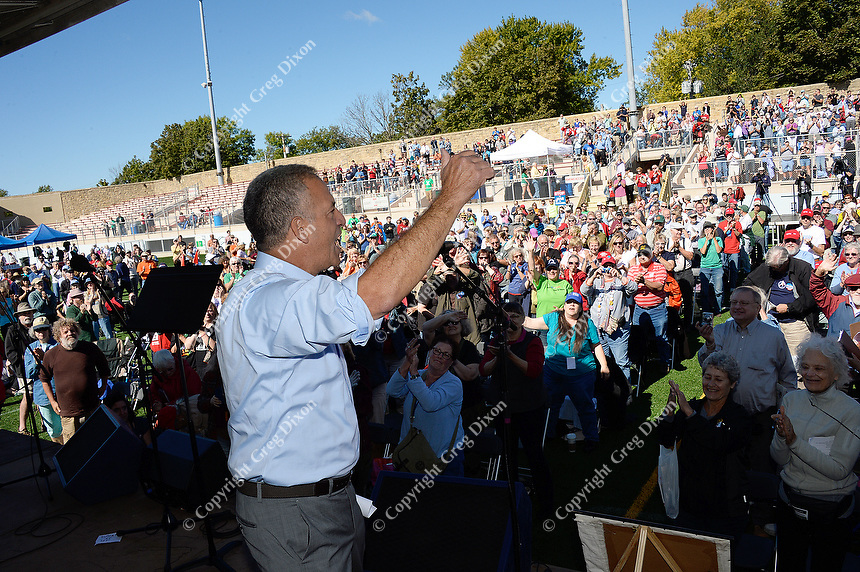 US Senate candidate, Russ Feingold, rallies the crowd at Fighting Bob Fest on Saturday, September 19, 2015 at Breese Stevens Field in Madison, Wisconsin