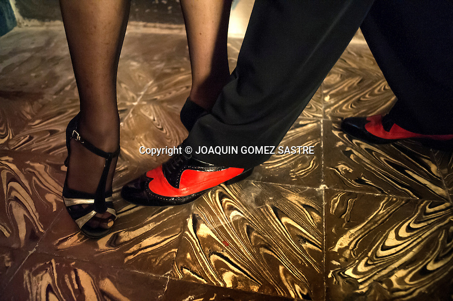 Detail about shoes Tango dancers in the local Association Friends of Tango<br />  PHOTO &copy; JOAQUIN GOMEZ  SASTRE