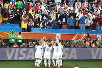 The Slovenia team celebrate the second goal against USA scored by Zlatan Ljubijankic