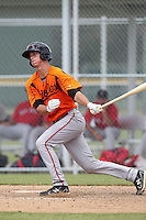 Baltimore Orioles first baseman / catcher Michael Ohlman #34 during an Instructional League game against the Boston Red Sox at Buck O'Neil Complex on October 6, 2011 in Sarasota, Florida.  (Mike Janes/Four Seam Images)