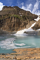 Glacier Hiking Trail. View of Upper Grinnell Lake located in Glacer National Park, Montana.