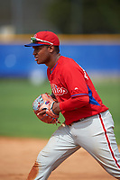 Philadelphia Phillies Luis Encarnacion (22) during a minor league Spring Training game against the Toronto Blue Jays on March 26, 2016 at Englebert Complex in Dunedin, Florida.  (Mike Janes/Four Seam Images)