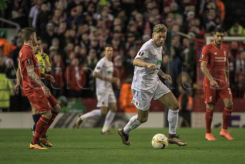 25.02.2016. Liverpool, England. UEFA Europa League game between Liverpool FC and Augsburg.  Alexander Esswein ( FC Augsburg ) breaks from Philippe Coutinho (Liverpool FC)