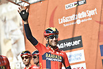 Vincenzo Nibali (ITA) Bahrain-Merida at sign on in Fortezza Medicea before the start of the 110th edition of Milan-San Remo 2019 running 291km from Milan to San Remo, Italy. 23rd March 2019.<br /> Picture: LaPresse/Fabio Ferrari | Cyclefile<br /> <br /> <br /> All photos usage must carry mandatory copyright credit (&copy; Cyclefile | LaPresse/Fabio Ferrari)