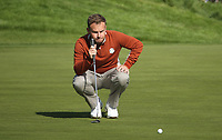 Tyrrell Hatton (Team Europe) on the 12th during Saturday's Fourballs, at the Ryder Cup, Le Golf National, Île-de-France, France. 29/09/2018.<br /> Picture David Lloyd / Golffile.ie<br /> <br /> All photo usage must carry mandatory copyright credit (© Golffile | David Lloyd)