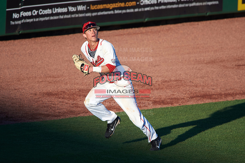 Ball State Cardinals left fielder Roman Baisa (3) tracks a fly ball during a game against the Louisville Cardinals on February 19, 2017 at Spectrum Field in Clearwater, Florida.  Louisville defeated Ball State 10-4.  (Mike Janes/Four Seam Images)