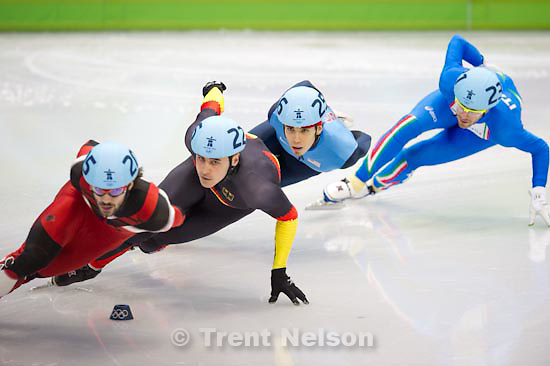 Trent Nelson  |  The Salt Lake Tribune.Mens' 1000m, Short Track Speed Skating, at the XXI Olympic Winter Games in Vancouver, Saturday, February 20, 2010. quarterfinal 1 Charles Hamelin (205, canada), Apolo Anton Ohno (256, usa), Nicolas Bean (231), Tyson Heung (226, germany)