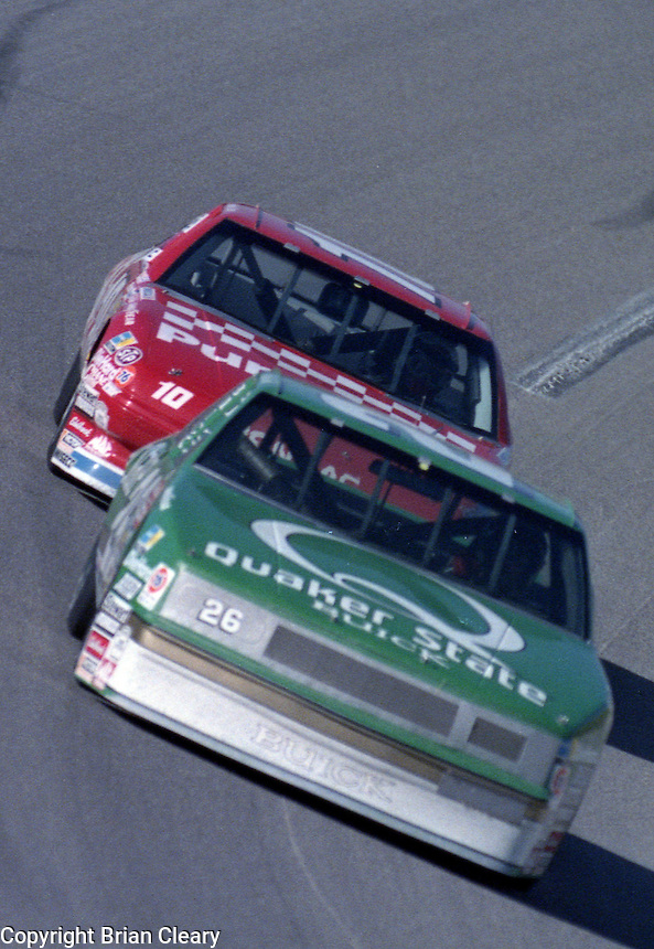 Ricky Rudd 26 Derrike Cope 10 action Winston 500 at Talladega Superspeedway in Talladega , AL in May 1989.  (Photo by Brian Cleary/www.bcpix.com)