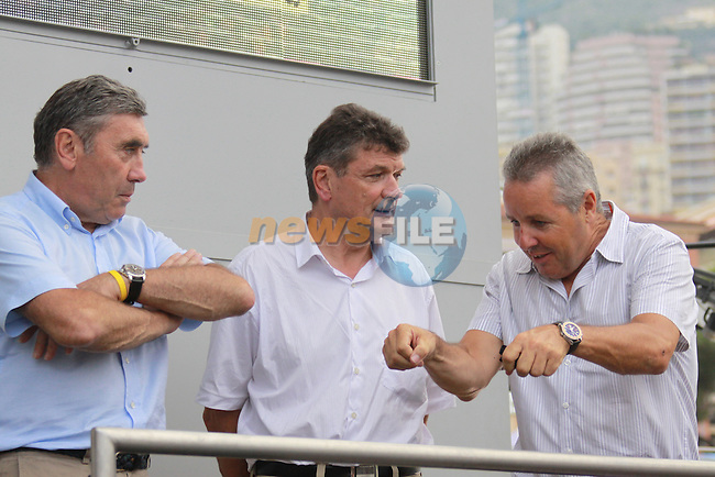 Eddy Merkyx, Bernard Thévenet & Stephen Roche at the first stage prologue in the 2009 Tour de France, 4th July 2009 (Photo by Manus OReilly/NEWSFILE)