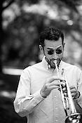 June 06, 2008. Durham, NC..North Carolina based salsa band, Orquesta GarDel.. Jay Kaufman, trumpet.