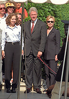 ***FILE PHOTO*** Bill Clinton Has Not Apologized To Monica Lewinsky And Claims Did The Right Thing Staying In Office.<br /> <br /> The First Family poses for a family portrait as they depart the White House for their two week vacation in Martha's Vineyard, Massachusetts on Thursday, August 19, 1999.  The President celebrated his 53rd birthday earlier in the day at a party thrown for him by approximately 200 members of the White House staff and volunteers on the South Lawn. (L-R) Chelsea Clinton, U.S. President Bill Clinton, First Lady Hillary Rodham Clinton.  On Tuesday, August 17, 1999, the President testified before the Grand Jury on his involvement in the Monica Lewinsky scandal and subsequently made a nationally televised statement admitting he had an inappropriate relationship with Ms. Lewinsky.<br /> CAP/MPI/RS<br /> &copy;RS/MPI/Capital Pictures