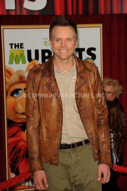 WWW.ACEPIXS.COM . . . . .  ....November 12 2011, LA....Joel McHale arriving at the premiere of Walt Disney Pictures' 'The Muppets' held at the El Capitan Theatre on November 12, 2011 in Hollywood, California.....Please byline: PETER WEST - ACE PICTURES.... *** ***..Ace Pictures, Inc:  ..Philip Vaughan (212) 243-8787 or (646) 679 0430..e-mail: info@acepixs.com..web: http://www.acepixs.com