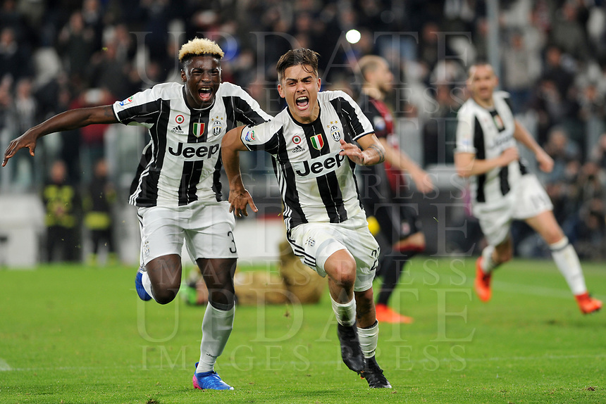 Calcio, Serie A: Juventus vs Milan. Torino, Juventus Stadium, 10 marzo 2017.<br /> Juventus' Paulo Dybala, right, celebrates with his teammate Moise Kean after scoring on a penalty kick the winning goal during the Italian Serie A football match between Juventus and AC Milan at Turin's Juventus Stadium, 10 March 2017. Juventus won 2-1.<br /> UPDATE IMAGES PRESS/Manuela Viganti