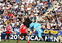 Andre Boudreaux #30 of the University of Louisville is beaten for the winning goal during the 2010 College Cup final against the University of Akron at Harder Stadium, on December 12 2010, in Santa Barbara, California.Akron champions, 1-0.