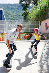 LAUREUS WORLD SPORTS AWARDS 2013, RIO DE JANEIRO, BRAZIL..VISIT TO COMPLEXO ESPORTIVO DA ROCINHA, A SLUM DEVELOPMENT..LAUREUS ACADEMY MEMBER TONY HAWK SKATES WITH LOCAL CHILDREN..11-3-2013 PIC BY IAN MCILGORM