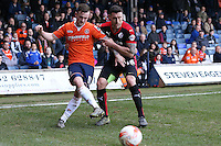 Jack Marriott of Luton Town and Jon Ashton of Crawley Town during the Sky Bet League 2 match between Luton Town and Crawley Town at Kenilworth Road, Luton, England on 12 March 2016. Photo by David Horn/PRiME Media Images.