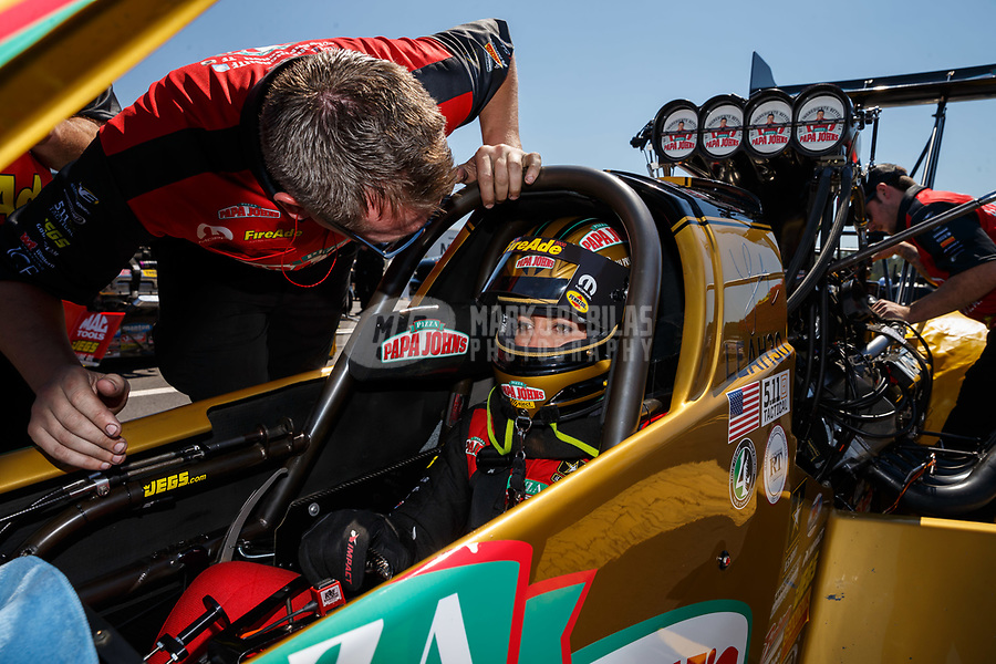 Mar 18, 2017; Gainesville , FL, USA; Crew member for NHRA top fuel driver Leah Pritchett during qualifying for the Gatornationals at Gainesville Raceway. Mandatory Credit: Mark J. Rebilas-USA TODAY Sports