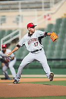 Hickory Crawdads starting pitcher Reed Garrett (17) in action against the Kannapolis Intimidators at CMC-Northeast Stadium on May 21, 2015 in Kannapolis, North Carolina.  The Intimidators defeated the Crawdads 2-0 in game one of a double-header.  (Brian Westerholt/Four Seam Images)