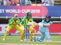 Eoin Morgan (England) sweeps forward of square during Australia vs England, ICC World Cup Semi-Final Cricket at Edgbaston Stadium on 11th July 2019