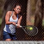 12 May 2018: Saint Johnsbury High School Ladies' Tennis team visits Burlington High School to compete at Leddy Park in Burlington, Vermont. Mandatory Credit: Ed Wolfstein Photo *** RAW (NEF) Image File Available ***