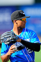 Hudson Valley Renegades outfielder Garrett Whitley (20), the 2015 first round draft pick of the Tampa Bay Rays, prior to a game versus the Lowell Spinners at Lelacheur Park on August 30, 2015 in Lowell, Massachusetts.  (Ken Babbitt/Four Seam Images)