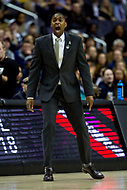 Washington, DC - MAR 7, 2018:George Washington Colonials head coach Maurice Joseph yells from the sidelines during game between G.W. and Fordham during first round action of the Atlantic 10 Basketball Tournament at the Capital One Arena in Washington, DC. (Photo by Phil Peters/Media Images International)