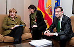 Brussels-Belgium - February 07, 2013 -- European Council, EU-summit meeting of Heads of State / Government; here, Angela MERKEL (le), Federal Chancellor of Germany, with Mariano RAJOY BREY (ri), Prime Minister of Spain, during a bilateral meeting, assisted by an interpreter (ce) -- Photo: © HorstWagner.eu