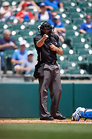 Umpire Mike Wiseman calls a strike during an International League game between the Lehigh Valley IronPigs and Buffalo Bisons on June 9, 2019 at Sahlen Field in Buffalo, New York.  Lehigh Valley defeated Buffalo 7-6 in 11 innings.  (Mike Janes/Four Seam Images)