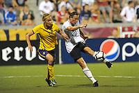 Abby Wambach has a shot on goal...USWNT tied Sweden 1-1 at Morison Stadium, Nebraska.