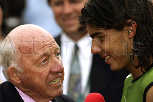 05.06.2005  French Open 2005 winner Rafael Nadal (Spain) interviewed by NBC Commentator Arthur W. Collins (USA) Paris Roland GarrTennis