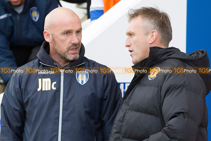 John McGreal, Manager of Colchester United and Steve Davis, Manager of Crewe Alexandra during Colchester United vs Crewe Alexandra, Sky Bet EFL League 2 Football at the Weston Homes Community Stadium on 26th November 2016