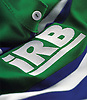 IRB logo on green and blue shirt