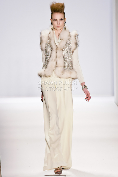 Model walks the runway in a Naeem Khan Fall 2010 outfit, during Mercedes-Benz Fashion Week Fall 2010.