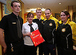 Stuart Maloney and Sophia Maloney, General Manager McDonalds, Drogheda, present Rory Kirwan, Eugene Burns and Aine Kirwin of the  Dunleer Athletics Club with the McDonald's Little Athletic Pack as part of a Nationwide Programme which is encouraging and providing the resources for children to become involved in grassroots athletics...Photo NEWSFILE/Jenny Matthews.(Photo credit should read Jenny Matthews/NEWSFILE)....This Picture has been sent you under the condtions enclosed by:.Newsfile Ltd..The Studio,.Millmount Abbey,.Drogheda,.Co Meath..Ireland..Tel: +353(0)41-9871240.Fax: +353(0)41-9871260.GSM: +353(0)86-2500958.email: pictures@newsfile.ie.www.newsfile.ie.FTP: 193.120.102.198.