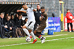 16.03.2019, BWT-Stadion am Hardtwald, Sandhausen, GER, 2. FBL, SV Sandhausen vs FC St. Pauli, <br /> <br /> DFL REGULATIONS PROHIBIT ANY USE OF PHOTOGRAPHS AS IMAGE SEQUENCES AND/OR QUASI-VIDEO.<br /> <br /> im Bild: Andrew Wooten (7, SV Sandhausen) gegen Jeremy Dudziak (FC St. Pauli #8)<br /> <br /> Foto © nordphoto / Fabisch