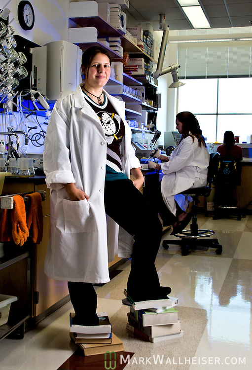 Twenty-two year-olde undergraduate Karalyn Aronow, in her lab in the King Life Sciences building in Tallahassee, Florida April 7, 20116.