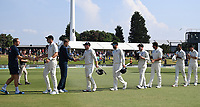 25th November 2019; Mt Maunganui, New Zealand;  Players shake hands at the end of play International test match day 5 of 1st test, New Zealand versus England;  at Bay Oval, Mt Maunganui, New Zealand.