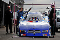 Jan 23, 2009; Chandler, AZ, USA; The car driven by NHRA funny car driver Jack Beckman goes through a tech inspection during testing at the National Time Trials at Firebird International Raceway. Mandatory Credit: Mark J. Rebilas-