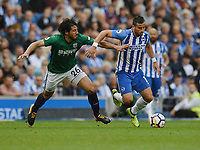 West Bromwich Albion's Ahmed Hegazy (left) battles with Brighton &amp; Hove Albion's Tomer Hemed (right) <br /> <br /> Brighton 3 - 1 West Bromwich<br /> <br /> Photographer David Horton/CameraSport<br /> <br /> The Premier League - Brighton and Hove Albion v West Bromwich Albion - Saturday 9th September 2017 - The Amex Stadium - Brighton<br /> <br /> World Copyright &copy; 2017 CameraSport. All rights reserved. 43 Linden Ave. Countesthorpe. Leicester. England. LE8 5PG - Tel: +44 (0) 116 277 4147 - admin@camerasport.com - www.camerasport.com