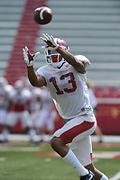 NWA Democrat-Gazette/ANDY SHUPE<br /> Arkansas defensive back Nate Dalton makes a catch Saturday, Aug. 5, 2017, prior to the start of a scrimmage in Razorback Stadium in Fayetteville. Visit nwadg.com/photos to see more photographs from the practice.
