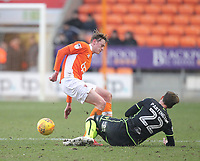 Blackpool's Sean Longstaff battles with Bristol Rovers' Joe Partington<br /> <br /> Photographer Mick Walker/CameraSport<br /> <br /> The EFL Sky Bet League One - Blackpool v Bristol Rovers - Saturday 13th January 2018 - Bloomfield Road - Blackpool<br /> <br /> World Copyright &copy; 2018 CameraSport. All rights reserved. 43 Linden Ave. Countesthorpe. Leicester. England. LE8 5PG - Tel: +44 (0) 116 277 4147 - admin@camerasport.com - www.camerasport.com