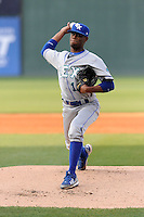 Pitcher Torey Deshazier (18) of the Lexington Legends delivers a pitch in a game against the Greenville Drive on Tuesday, April 14, 2015, at Fluor Field at the West End in Greenville, South Carolina. Lexington won, 5-3. (Tom Priddy/Four Seam Images)