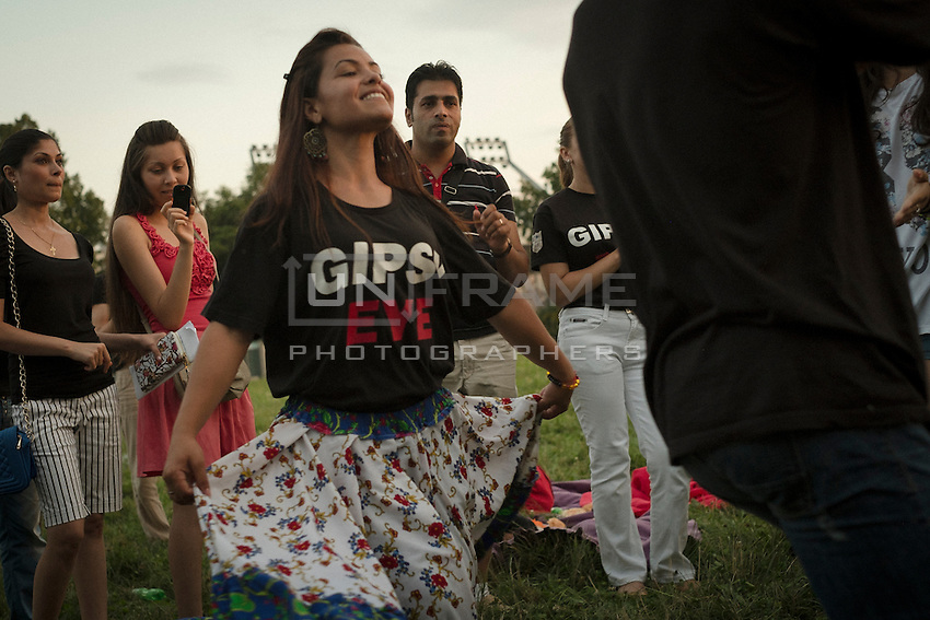 70th anniversary of Roma genocide. Alexandra Dragnea dancing to traditional Roma music. Krakow, Poland.