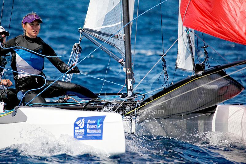 ISAF Sailing World Cup Hyères - Fédération Française de Voile. Nacra17, Moana Vaireaux<br /> Manon Audinet.